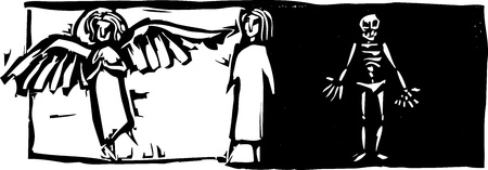 death angel: Person standing between angelic image and skeleton. Illustration