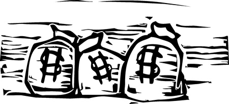 Bags of money with symbols on them in a woodcut style Çizim