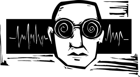 woodcut: Head of man listening to sound wearing spiral glasses.