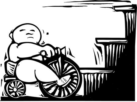 太りすぎの赤ちゃん三輪車に乗ってステップに来る