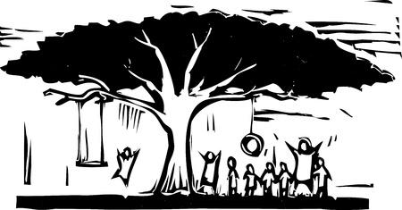 그것에 스윙과 많은 아이들이 나무입니다. 일러스트