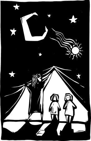 revealed: Two children are revealed behind a curtain of stars. Illustration