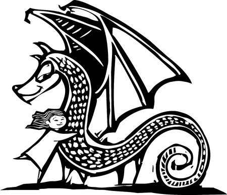 Young Girl gives a big dragon a hug.