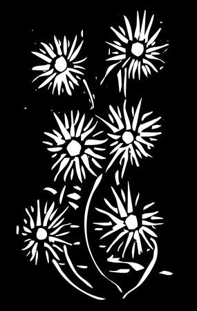Simple woodcut flowers on a black background.