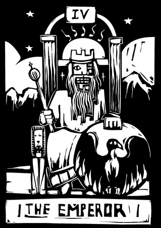 Woodcut image of the Tarot Card for the Emperor