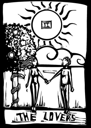 Woodcut image of the Tarot Card for the lovers