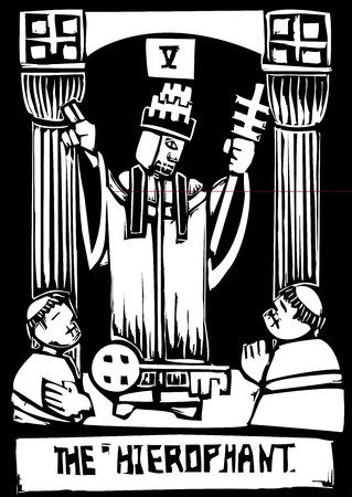 tarot: Woodcut image of the Tarot Card for the Hierophant Illustration