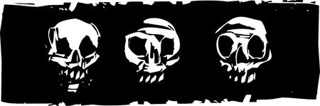 three woodcut style human skulls on a black background.