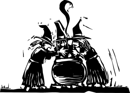 Three witches stand over a boiling cauldron.