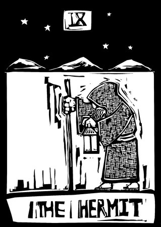 A Tarot card image of the Hermit Çizim