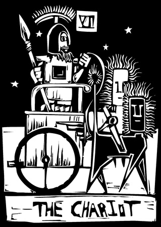 A Tarot card image of the Chariot. Vector