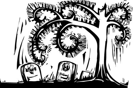 Gothic Halloween image of a spiral tree and graves. Vektoros illusztráció