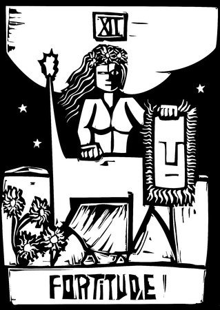 Tarot Card Major Arcana image of Fortitude Vector