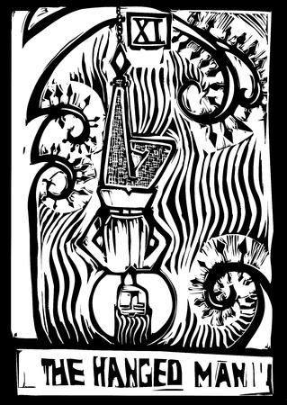 매달린 사람의 타로 카드 주요 아르카나 이미지 스톡 콘텐츠 - 10901757