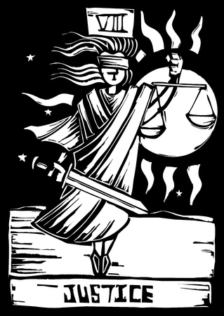 Tarot Card Major Arcana image of Justice 向量圖像