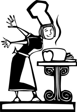 신선한 구운 빵 냄새가 여자 요리사