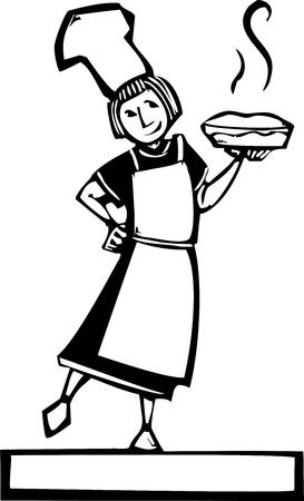 pastel de manzana: Mujer chef de celebraci�n de una tarta caliente de manzana fresca