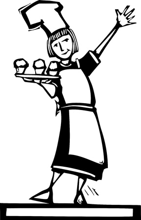 Woman chef holding a tray of three cupcakes. Stock Vector - 11066338