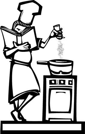 fartuch: Kobieta kucharz trzyma książkę kucharską dodanie pieprzu do gulaszu. Ilustracja