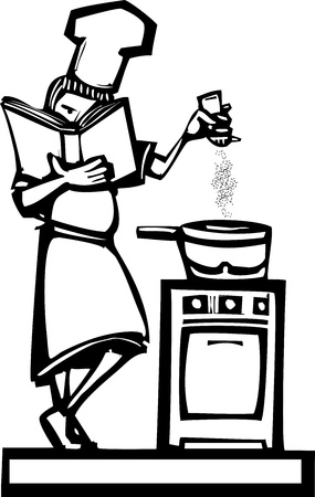 Woman chef holding cookbook adding pepper to a stew. Vector