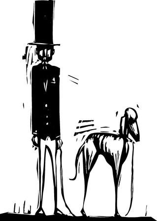dog walking: Tall man in top hat with a greyhound dog.