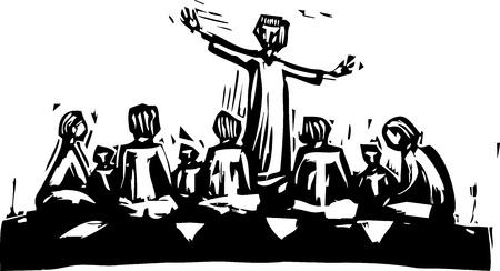 L'uomo in piedi e l'insegnamento nel cerchio di discepoli.