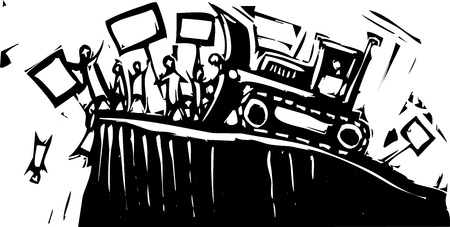 corrupted: Protest being pushed off cliff by bulldozer.