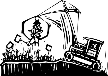 corrupted: crane breaks up a protest in authority metaphor