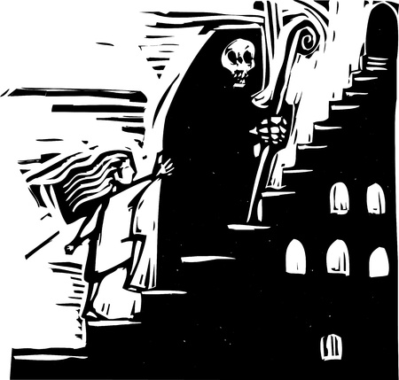 girl shadow: small child following the image of death up some stairs. Illustration