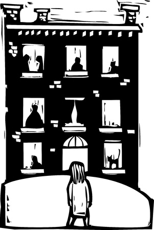 Girl looking at the windows of several apartments. Stock Vector - 11367232
