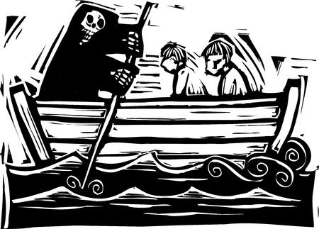 Tod Rudern die Toten über den Fluss Styx in die Unterwelt Standard-Bild - 11367233
