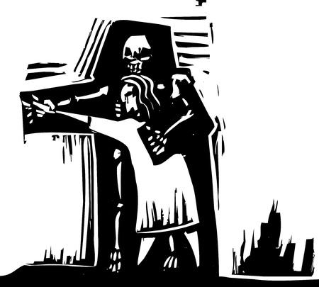 alte Frau tanzt mit dem Schatten des Todes.
