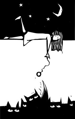 몬스터와 함께 연주 밤에 꿈꾸는 소녀. 스톡 콘텐츠 - 11367247
