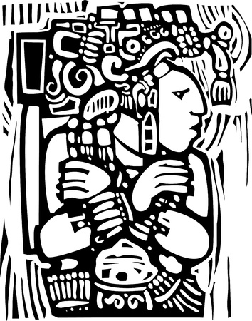 Mesoamerican 도자기와 성전 이미지 후 설계 마야 전사