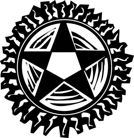 Woodcut style pentagram with rays like the sun Stock Illustratie