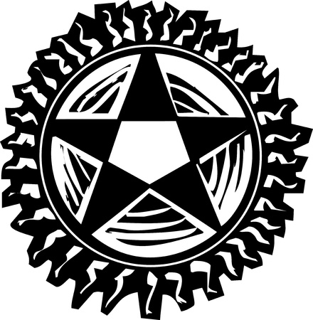 Woodcut style pentagram with rays like the sun Illustration