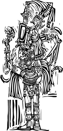 Mayan warrior designed after Mesoamerican Pottery and Temple Images Vector