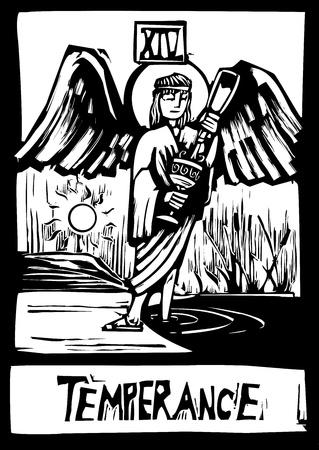 절제의 이미지를 판화 스타일의 타로 카드