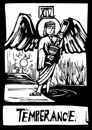 temperance: Woodcut style Tarot card for the image of Temperance