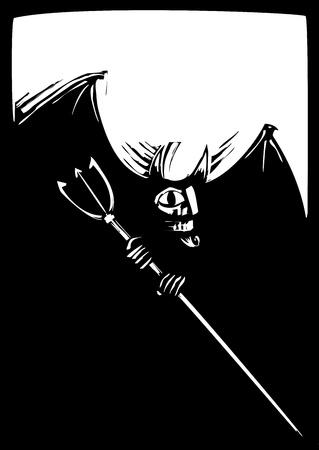 キリスト教の悪魔の単純な木版画のイメージ。  イラスト・ベクター素材