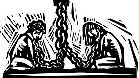 자신의 목에 체인으로 벽에 개최 두 노예. 일러스트