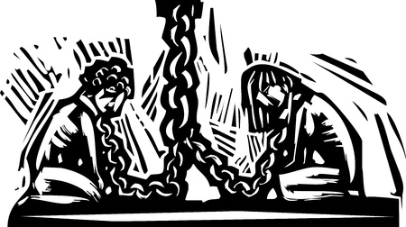 ligotage: Deux esclaves lieu � un mur par une cha�ne autour du cou. Illustration