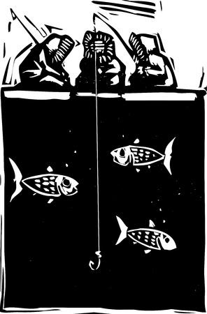 inuit: Woodcut style image of three inuit eskimo ice fishing. Illustration