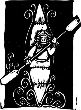 Gravure sur bois de style d'image d'un kayak inuit de style esquimau. Banque d'images - 11936883