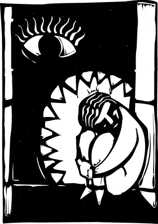 Depression metaphor with person in fetal position and jaws closing in.