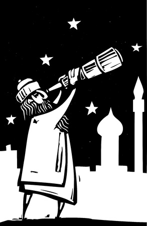 Islamic man with a telescope scans the sky.