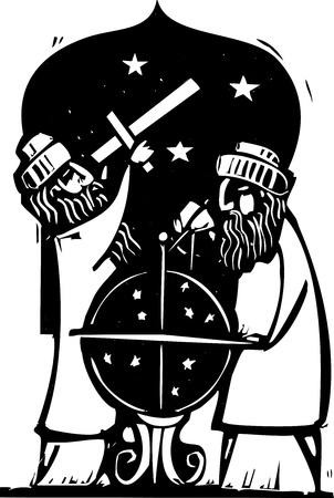 Islamitische Astrologen de studie van de nachtelijke hemel. Stock Illustratie