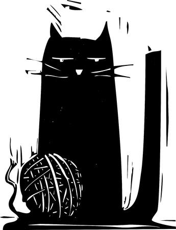 Einfache schwarze Katze mit einem Wollknäuel. Standard-Bild - 12047522