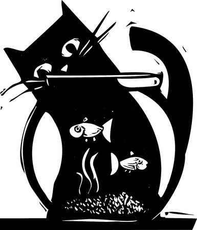 Black cat watching fish in a fishbowl Vector