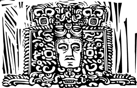 yucatan: Image of a Mayan king from a ruined stele.